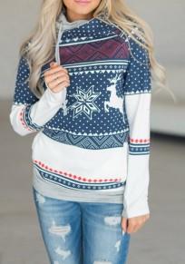 Blue Elk Print Drawstring Cowl Neck Hooded Long Sleeve Christmas Pullover Sweatshirt