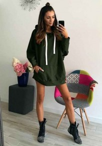 Green Pockets Drawstring Hooded Long Sleeve Casual Pullover Sweatshirt