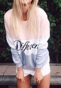 Pink Color Block Letter Print Round Neck Casual Pullover Sweatshirt