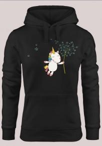 Felpa stampa unicorno coulisse tasche con cappuccio manica lunga maglione nero