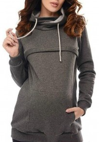 Dark Grey Drawstring Pockets Zipper Cowl Neck Casual Maternity Pullover Sweatshirt