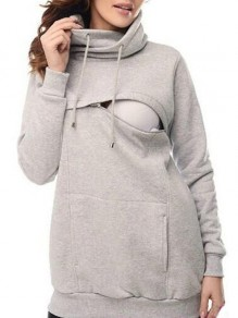 Light Grey Drawstring Pockets Zipper Cowl Neck Casual Maternity Pullover Sweatshirt
