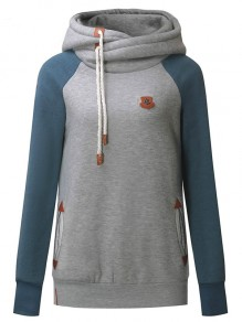 Grey Patchwork Badge Drawstring Hooded Casual Pullover Sweatshirt