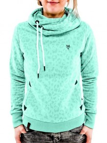 Light Green Leopard Badge Drawstring Hooded Casual Pullover Sweatshirt