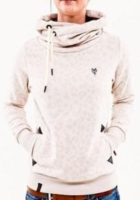Sweatshirt naketano léopard à capuche col bénitier roulé manches longues décontracté femme blanc