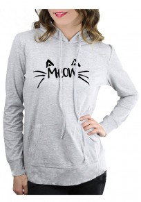 Grey Cat Print Badge Drawstring Hooded Cute Pullover Sweatshirt