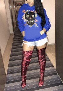 Royal Blue Skull Print Pockets Hooded Long Sleeve Oversized Casual Pullover Sweatshirt