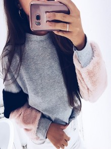 Grey Patchwork Round Neck Casual Pullover Sweatshirt