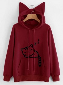 Wine Red Cat Print Cat Ears Drawstring Pockets Cute Hooded Sweatshirt