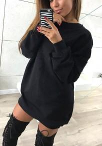 Schwarz Rundhals Langarm Lässige Oversize Long Pullover Sweatshirt Damen Sweatkleid