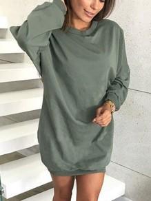 Sweatshirt robe courte manches longues lâche décontracté femme vert armée