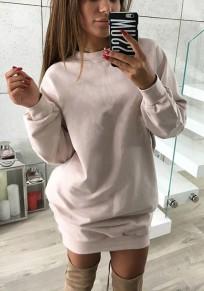 Rosa Rundhals Langarm Lässige Oversize Long Pullover Sweatshirt Damen Mode Sweatkleid