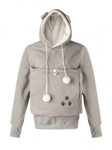 Sweat-shirt à capuche pull pet chats kangourou poche manches longues hoodies mignon gris femme