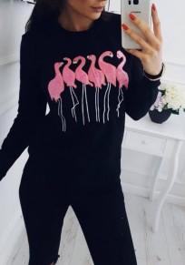 Sweatshirt imprimé à flamant col ronde manches longues femme décontracté pull noir