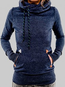Navy Blue Pockets Drawstring Cowl Neck Hooded Long Sleeve Casual Pullover Sweatshirt