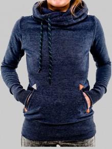 Marineblaue Taschen Rollkragen Mit Kordel Kapuze Langarm Hoodie Pullover Damen Naketano Sale