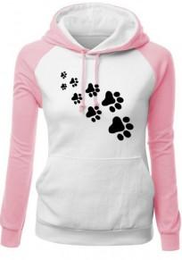 Weiß Rosa Katzenkrallen Tunnelzug Taschen Langarm Hoodie Mode Sweatshirt Damen