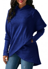 Blue Irregular Pockets High-low Long Sleeve Hooded Oversized Pullover Sweatshirt