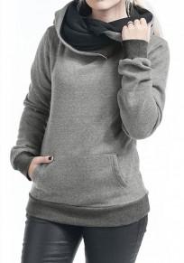 Sweat-shirt poches plus la taille manches longues arrêtez-vous à capuche à capuche gris
