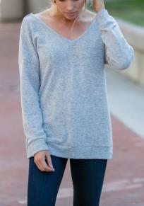 Grey Backless Irregular V-neck Long Sleeve Fashion Pullover Sweatshirt