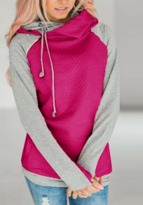 Rose Carmine Patchwork Irregular Drawstring Cardigan Hooded Sweatshirt