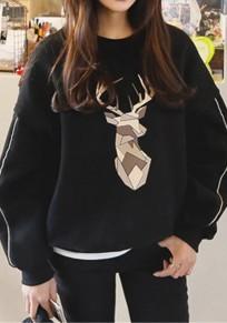 Black Deer Print Round Neck Long Sleeve Fashion Sweatshirt