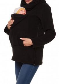 Black Multi-functional Zipper Kangaroo Baby Bags Hooded Cardigan Fashion Sweatshirt