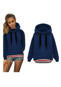 Blue Striped Drawstring Zipper Hooded Long Sleeve Casual Pullover Sweatshirt