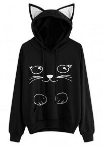 Sweatshirt à capuche pull motif chat manches longues mignon décontracté femme noir