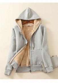 Hellgrau Reißverschluss Taschen mit Teddyfutter Kapuze Sweatjacke Wintermantel Hoodie Damen Mode