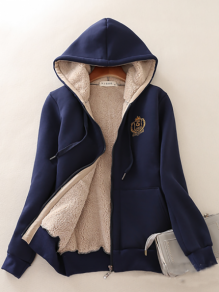 Navy Blue Pockets Zipper Drawstring Long Sleeve Fashion Hooded Sweatshirt