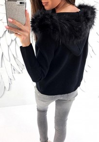 Black Patchwork Fur Pockets Zipper Long Sleeve Fashion Hooded Sweatshirt