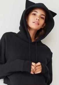 Black Cat Ears Drawstring Crop Long Sleeve Hooded Sweatshirt