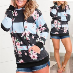 Multicolor Floral Pockets Drawstring Hooded Casual Pullover Sweatshirt