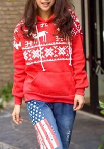 Noel sweatshirt à capuche pull rennes et flocons de neige manches longues décontracté femme rouge