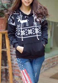 Black Floral Hooded Long Sleeve Casual Christmas Sweatshirt
