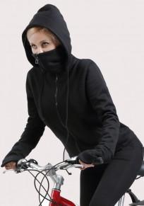 Black Irregular Zipper Pockets Drawstring Hooded Long Sleeve Cardigan Sweatshirt