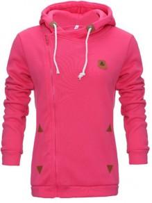 Sweatshirt latérales fermeture éclair à capuche décontracté mode femme naketano pull rose fushia