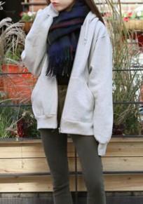 La camiseta con cremallera manga larga con capucha gruesa gris