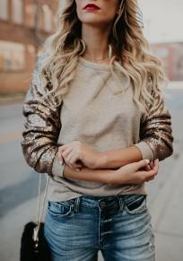 Sweatshirt splice dorée paillette col ronde manches longues décontracté femme abricot