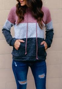 Sweat-shirt poches à cordon de serrage à capuche manches longues arrêtez-vous de mode gris