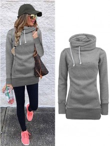 Grey Drawstring Pockets Irregular Collar Long Sleeve Fashion Pullover Sweatshirt