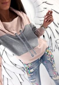 Pink Patchwork Print Tunnelzug Wasserfallausschnitt Lässige Pullover Sweatshirt
