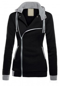 Sweatshirt à capuche latérales fermeture éclair décontracté femme naketano vestes noir