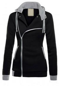 Black Zipper Drawstring Pockets Casual Cardigan Hooded Sweatshirt Jackets