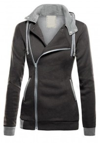 Dark Grey Zipper Drawstring Pockets Casual Cardigan Hooded Sweatshirt Jackets