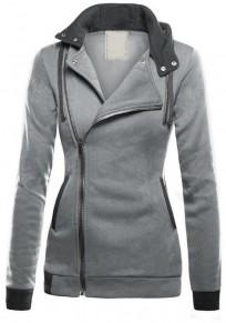 Sweatshirt à capuche latérales fermeture éclair décontracté femme naketano vestes gris clair