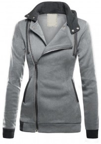 Light Grey Zipper Drawstring Pockets Casual Cardigan Hooded Sweatshirt Jackets