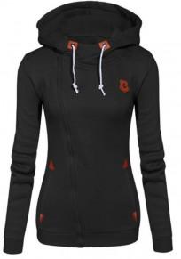 Schwarz Seitliche Reißverschluss Taschen Hoodie V-Ausschnitt Langarm Sweatshirt Pullover mit Kapuze Hoodie Damen Naketano Sale