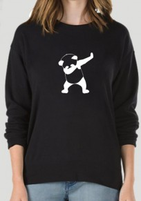 Black Floral Panda Round Neck Long Sleeve Cute Sweatshirt